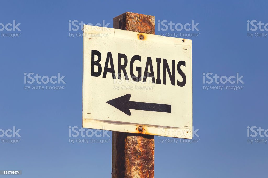 Bargains word and arrow signpost 2 stock photo