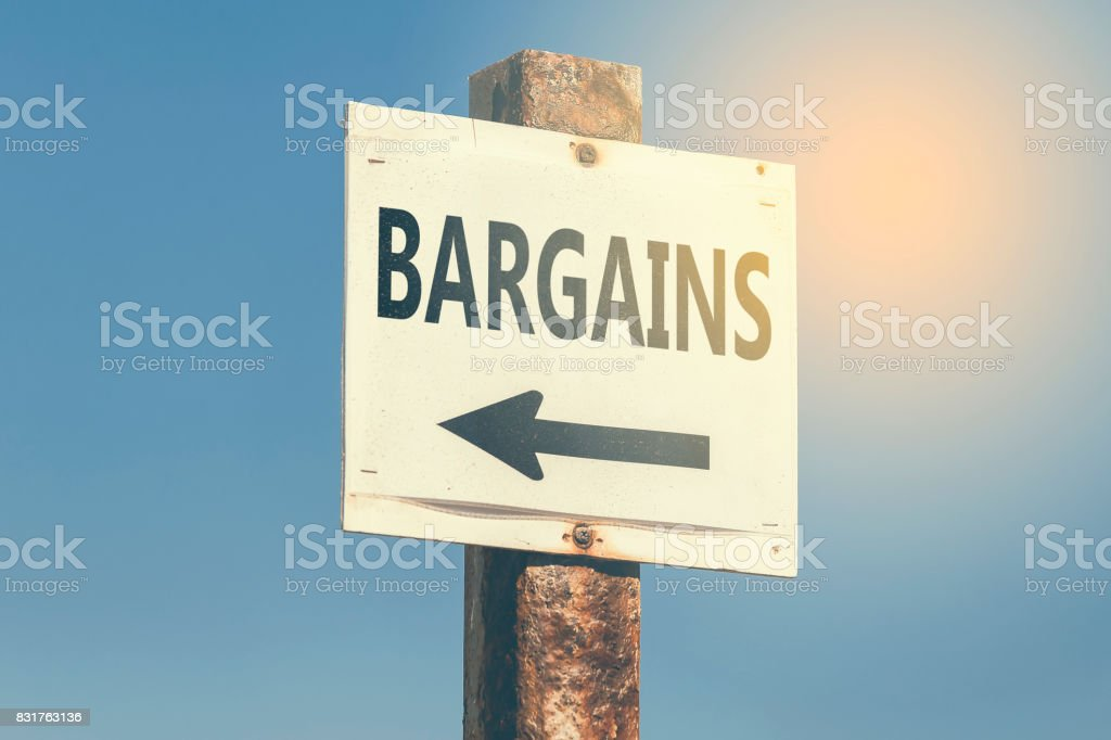 Bargains word and arrow signpost 3 stock photo