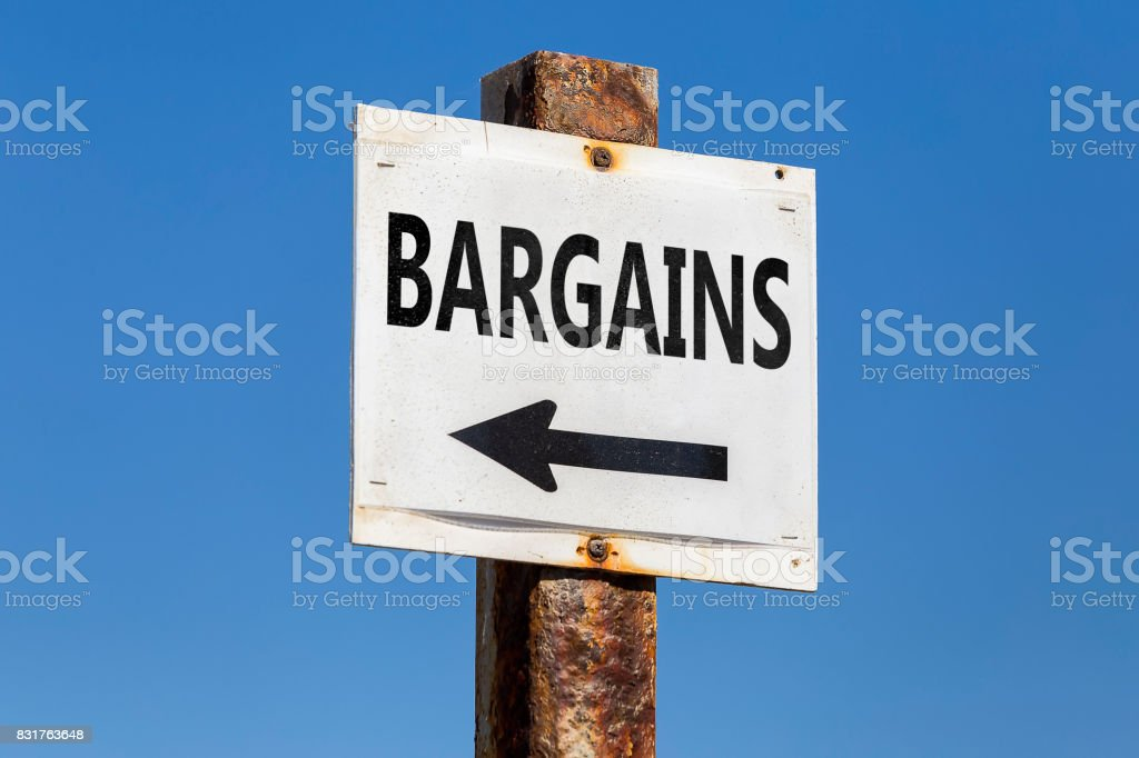 Bargains word and arrow signpost stock photo