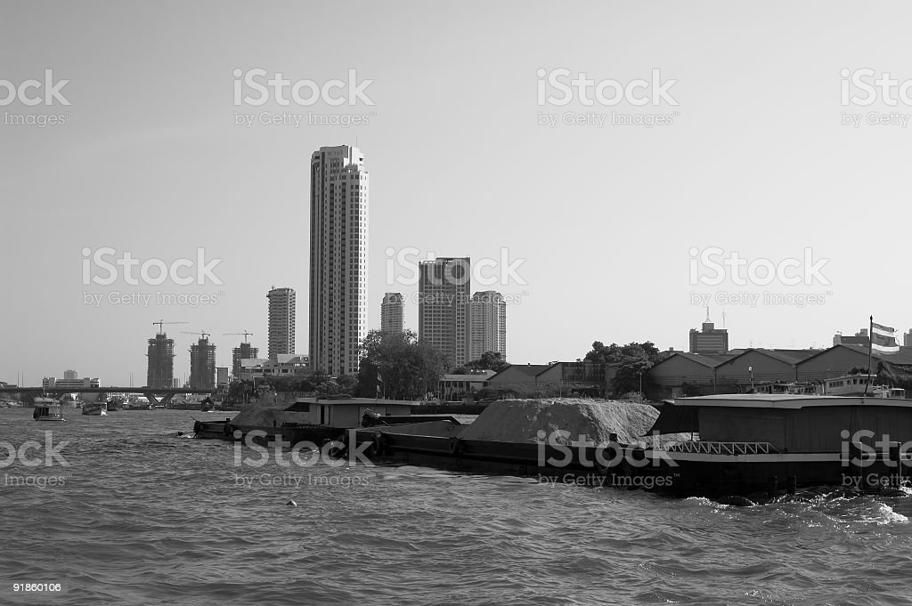 Barge and Bangkok royalty-free stock photo