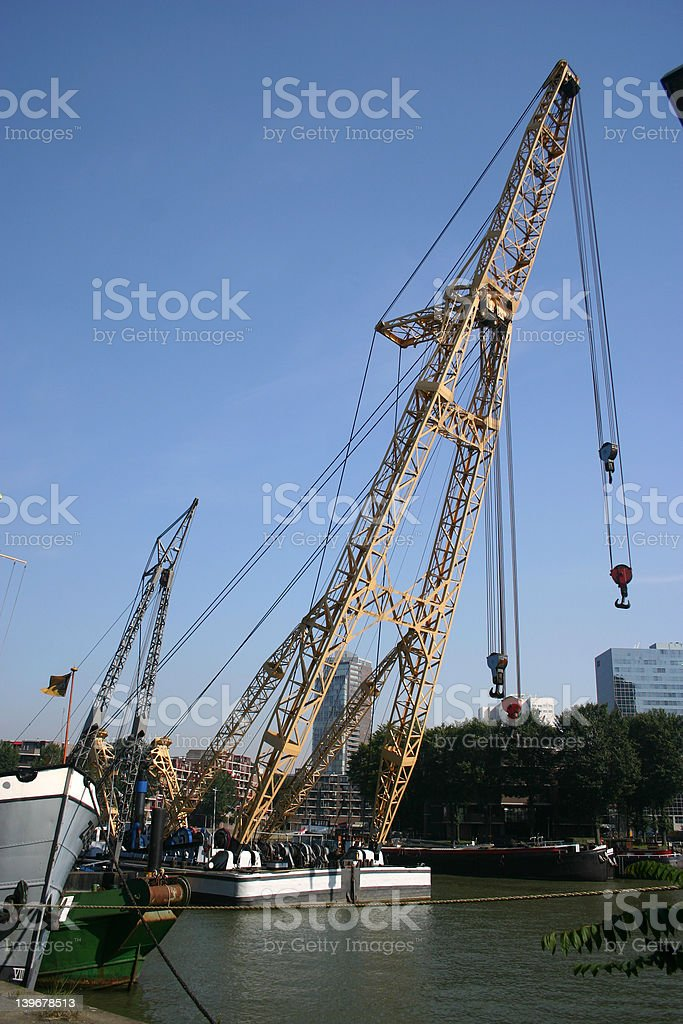 Barge cranes royalty-free stock photo