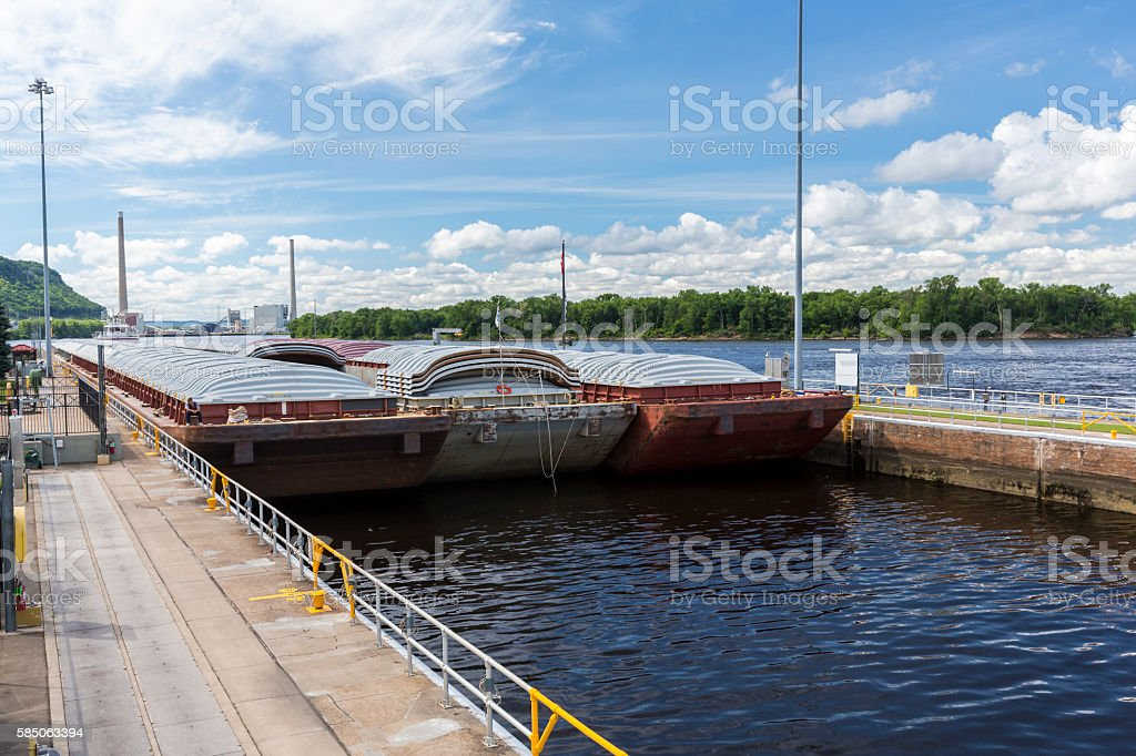 Barge Entering Lock & Dam stock photo