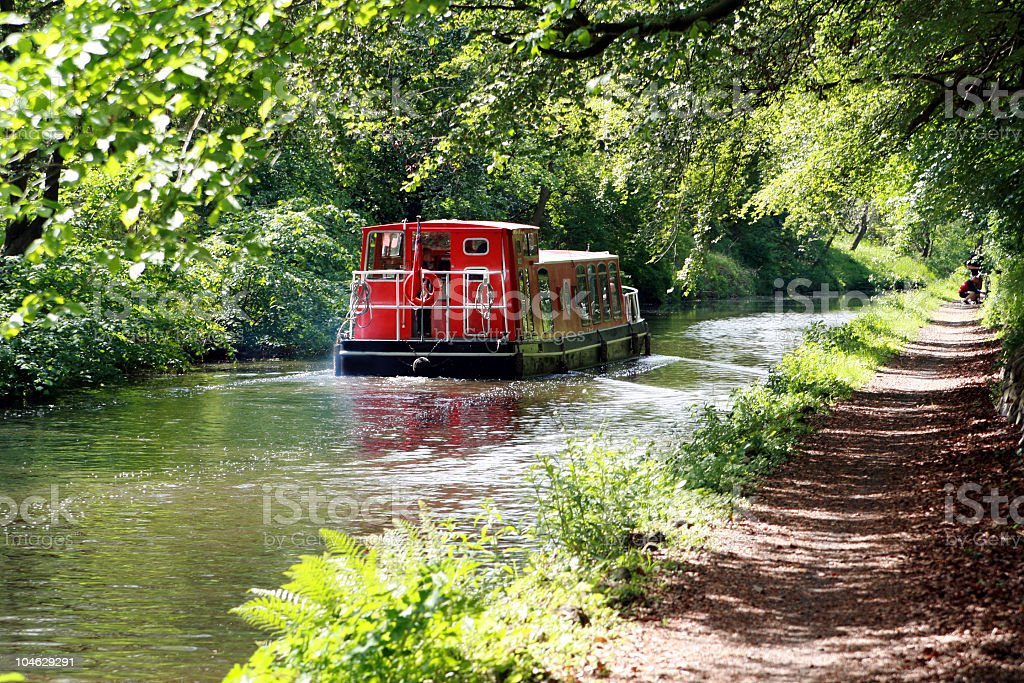 Barge going along canal royalty-free stock photo