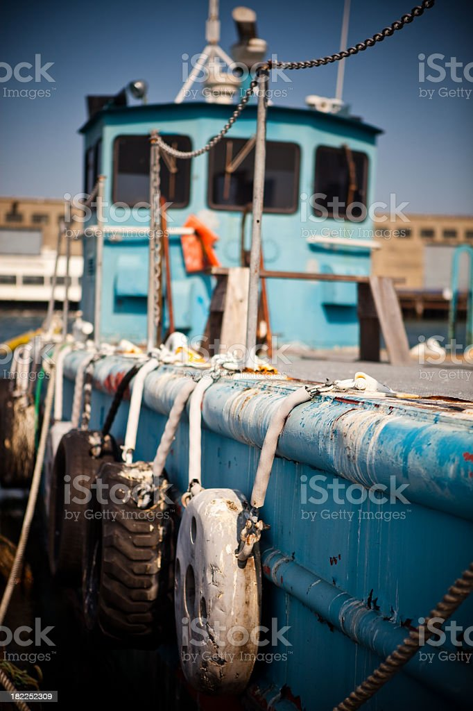 Barge in the San Francisco Wharf royalty-free stock photo