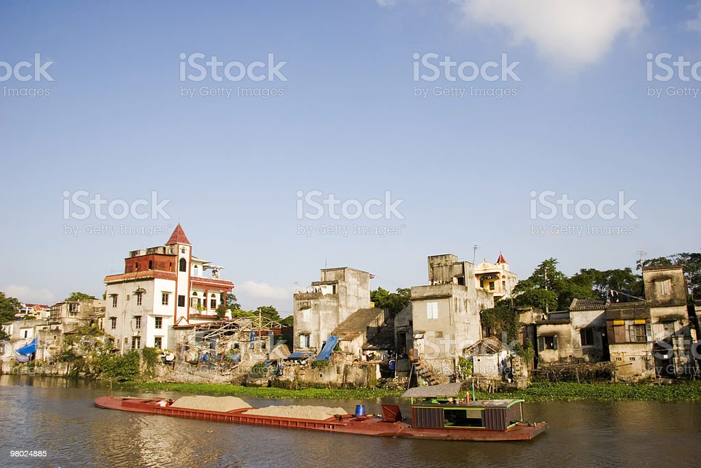 Barge on Canal in Ninh Binh royalty-free stock photo