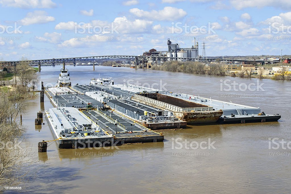 Barge on Illinois River stock photo