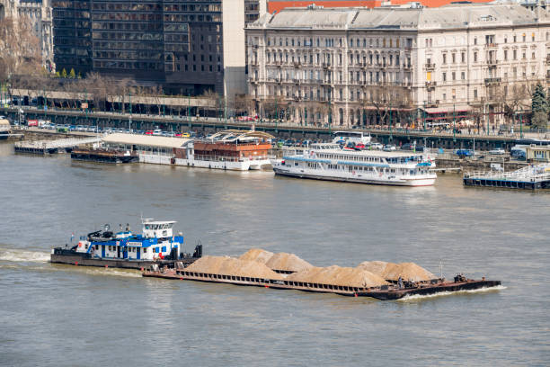 Barge on River Danube, Budapest stock photo