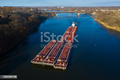 istock Barge on the Illinois River at Ottawa, Illinois 1285359756