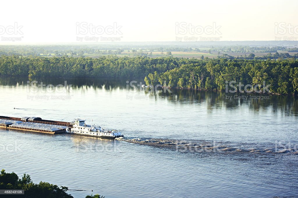 Barge on the Mississippi River in Hannibal Missouri stock photo