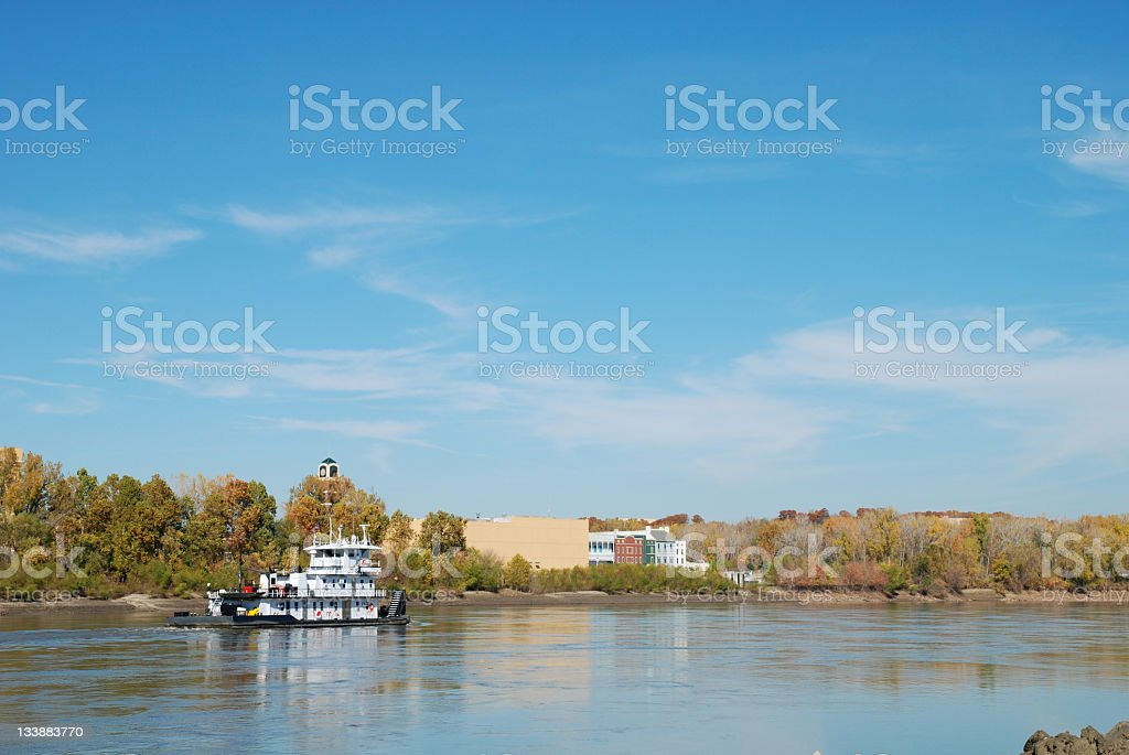 Barge on the Missouri River royalty-free stock photo