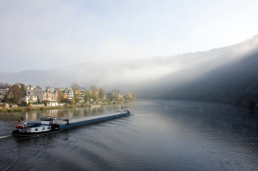 Barge on the Mosel River, Germany.