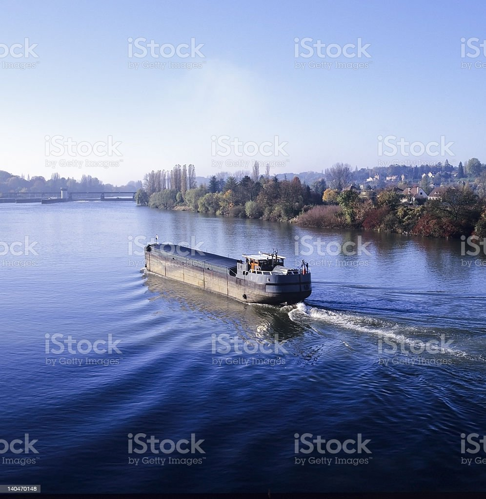 barge river stock photo