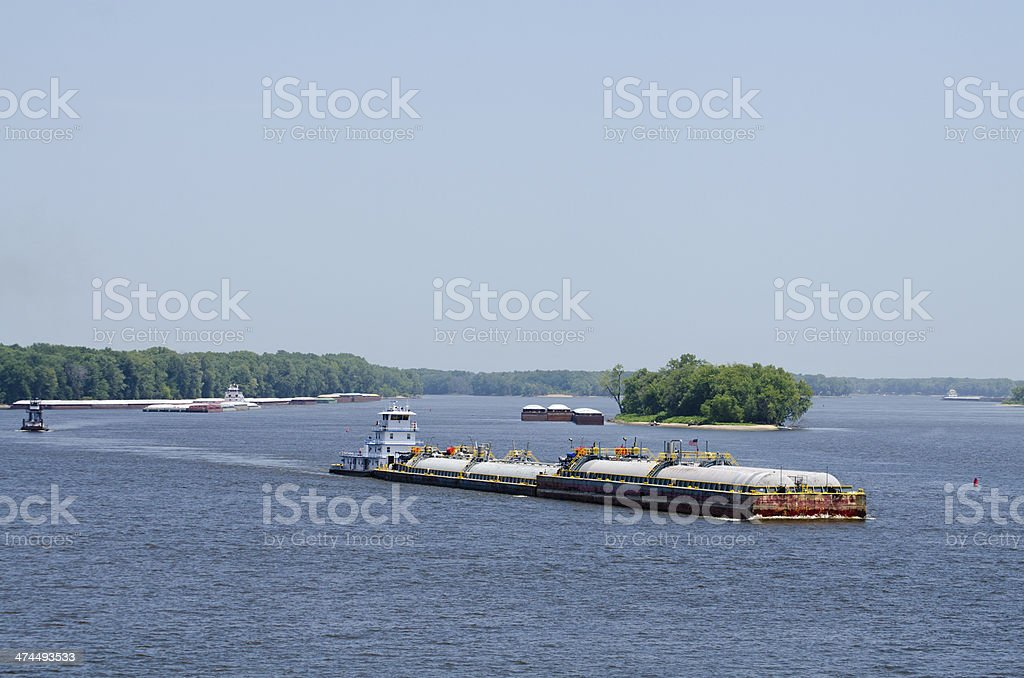 barge traffic on the Mississippi River, Burlington, Iowa stock photo