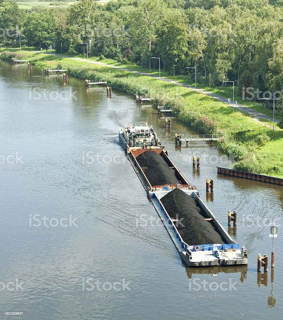 Barge with coal at Havel river stock photo