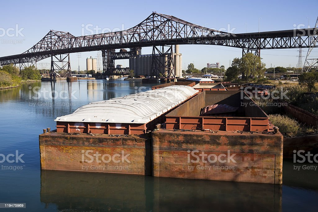 Barges in Chicago stock photo