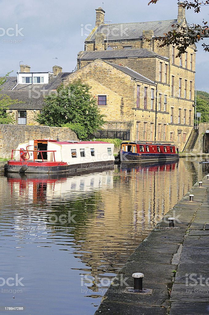 Barges on canal in Skipton, Yorkshire, England royalty-free stock photo