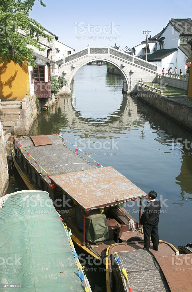 Barges On Canal royalty-free stock photo