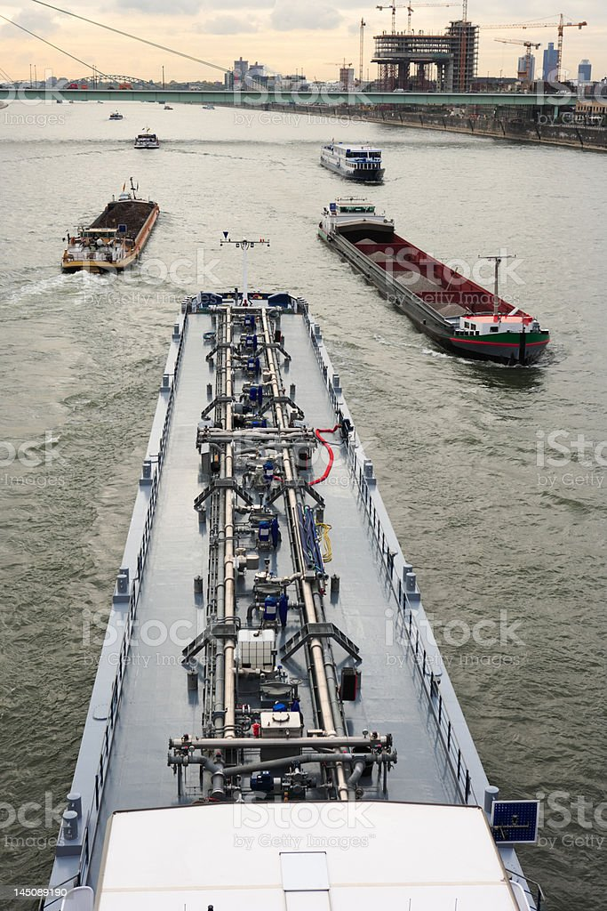 barges on river Rhine at Cologne, Germany stock photo