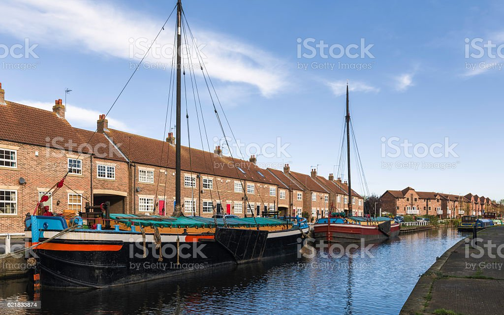 Barges on the beck in autumn, Beverley, Yorkshire, UK. stock photo