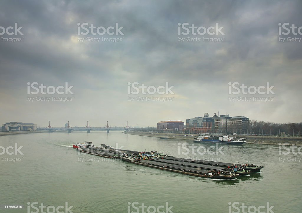 Barges on the Danube royalty-free stock photo