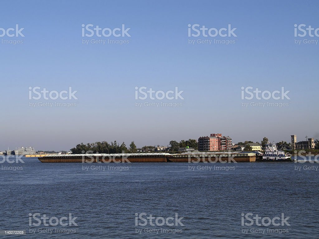 Barges on the Mississippi River royalty-free stock photo