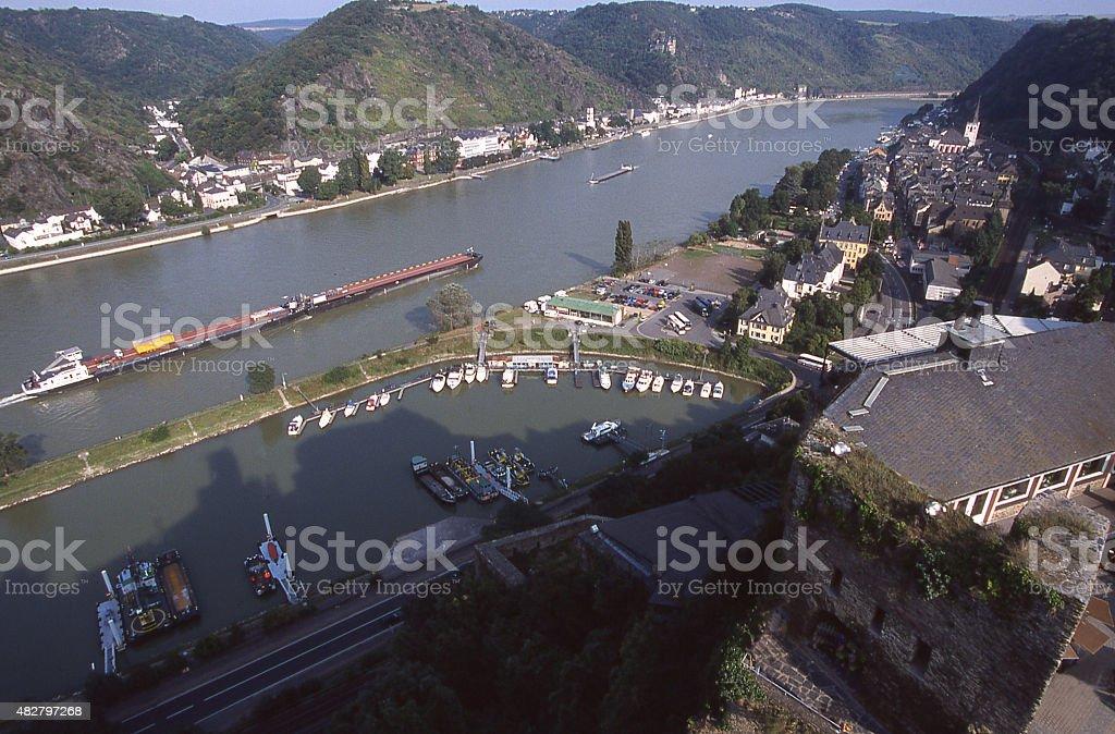 Barges Rhine River near Rheinfels Sankt Goar Bingen Koblenz Germany stock photo