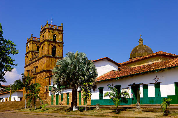 Barichara, Colombia: north side of 300 year old town square stock photo