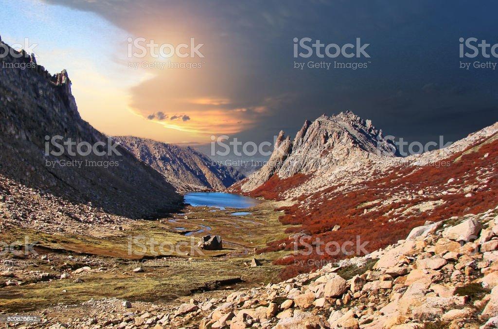 Bariloche, Argentina - scenic sunrise on a mountain trail stock photo