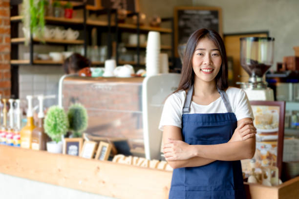 barista asian women cafe making coffee preparation. service concept - small business stock pictures, royalty-free photos & images