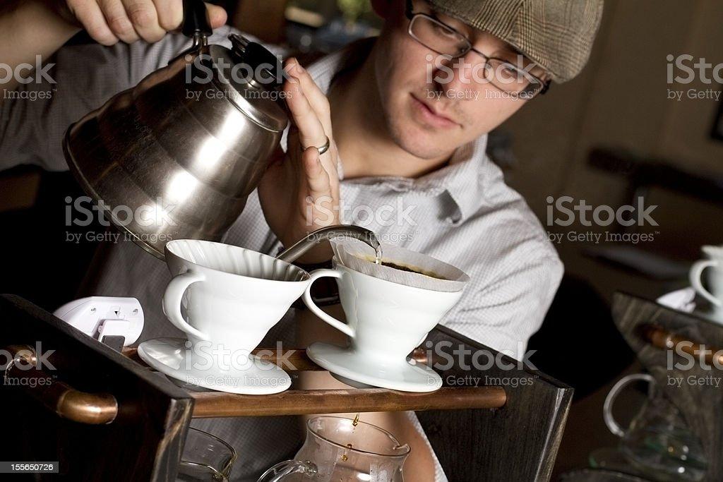 Barista Brews a Single Cup royalty-free stock photo