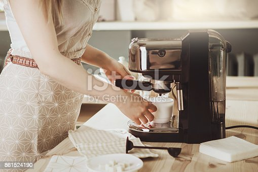 istock Barista Coffee Maker Machine Grinder Portafilter Concept 861524190