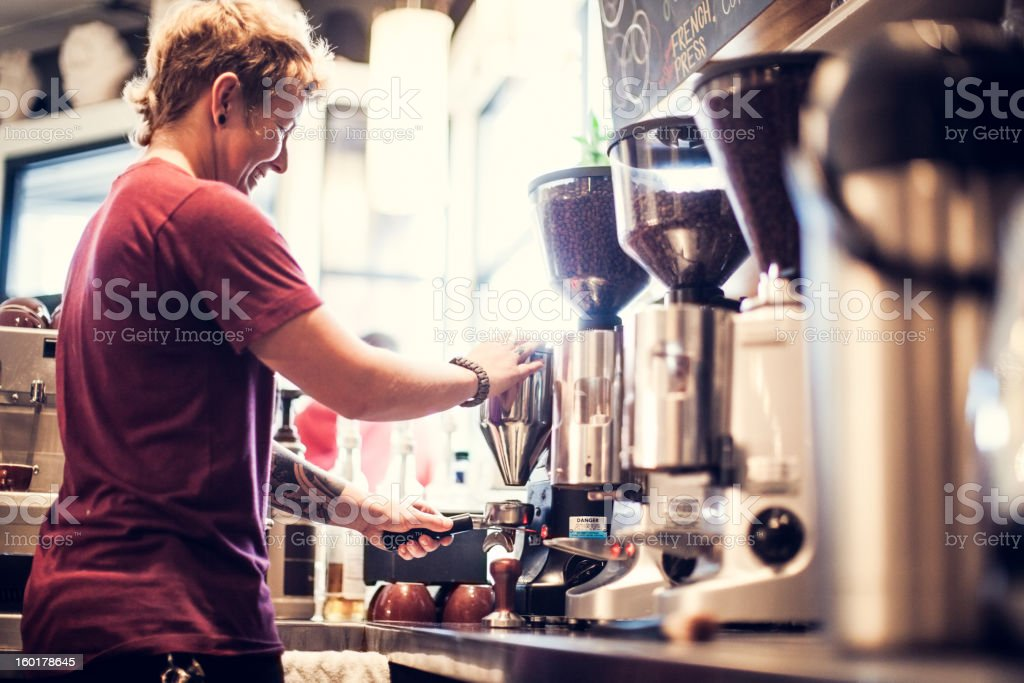 Barista Coffee Preparation royalty-free stock photo