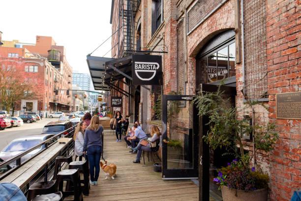 Barista Coffee Shop Cafe in Portland Oregon stock photo