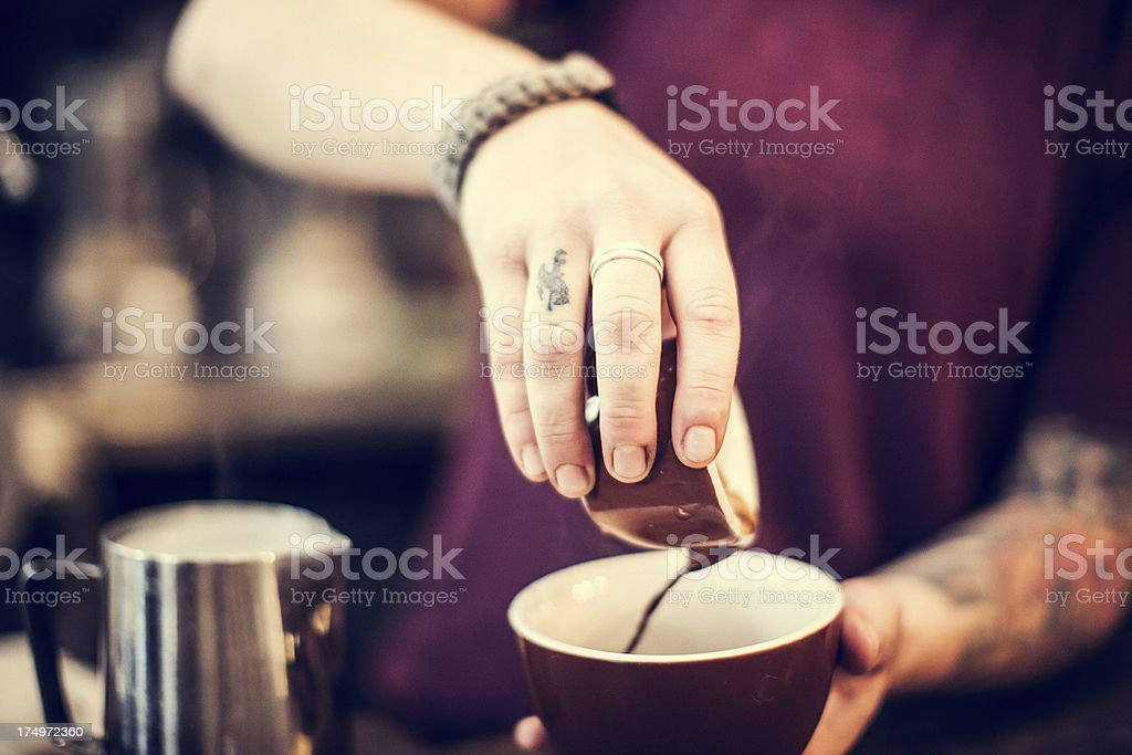 Barista Espresso Preparation royalty-free stock photo