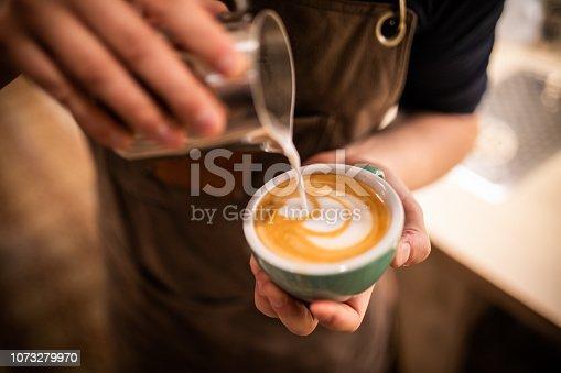 istock Barista make coffee cup latte art 1073279970