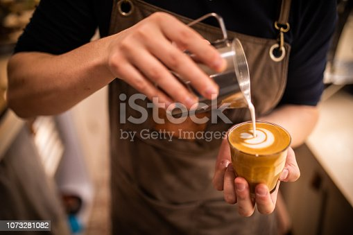 istock Barista make coffee cup latte art 1073281082