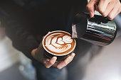 istock Barista make coffee cup latte art 821952658