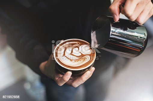 istock Barista make coffee cup latte art 821952658