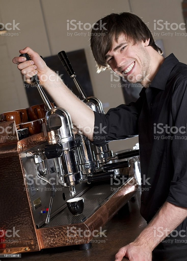 Barista Making an Espresso royalty-free stock photo