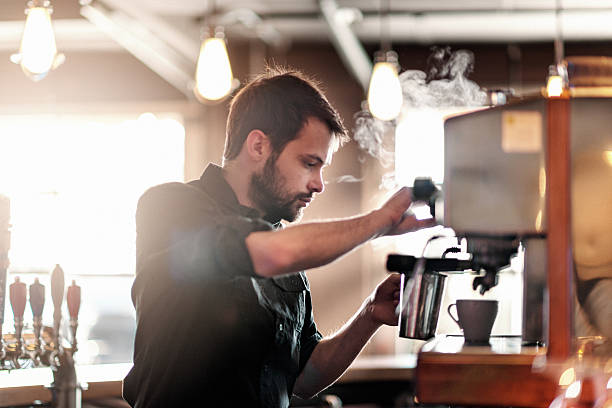 barista making cappuccino - barista stock photos and pictures