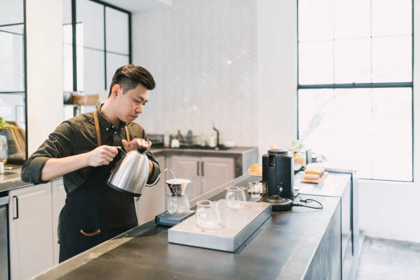 Barista Making Coffee stock photo