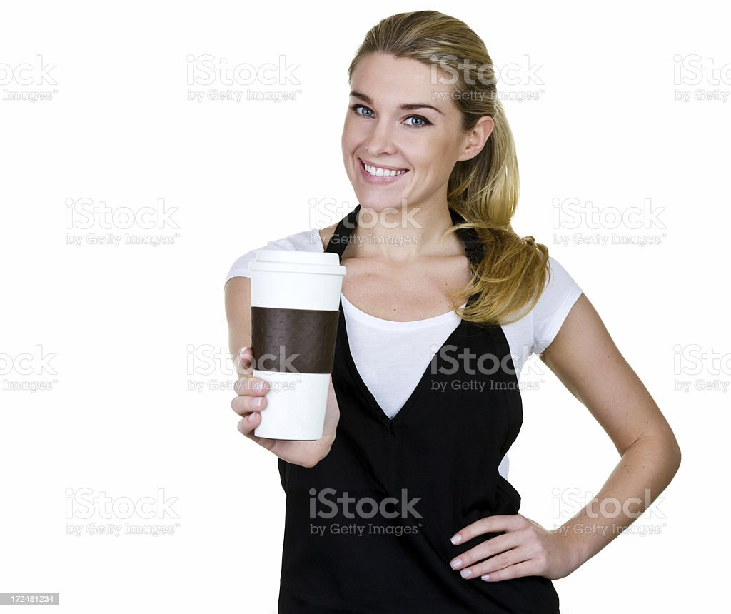 Barista passing to go coffee cup royalty-free stock photo