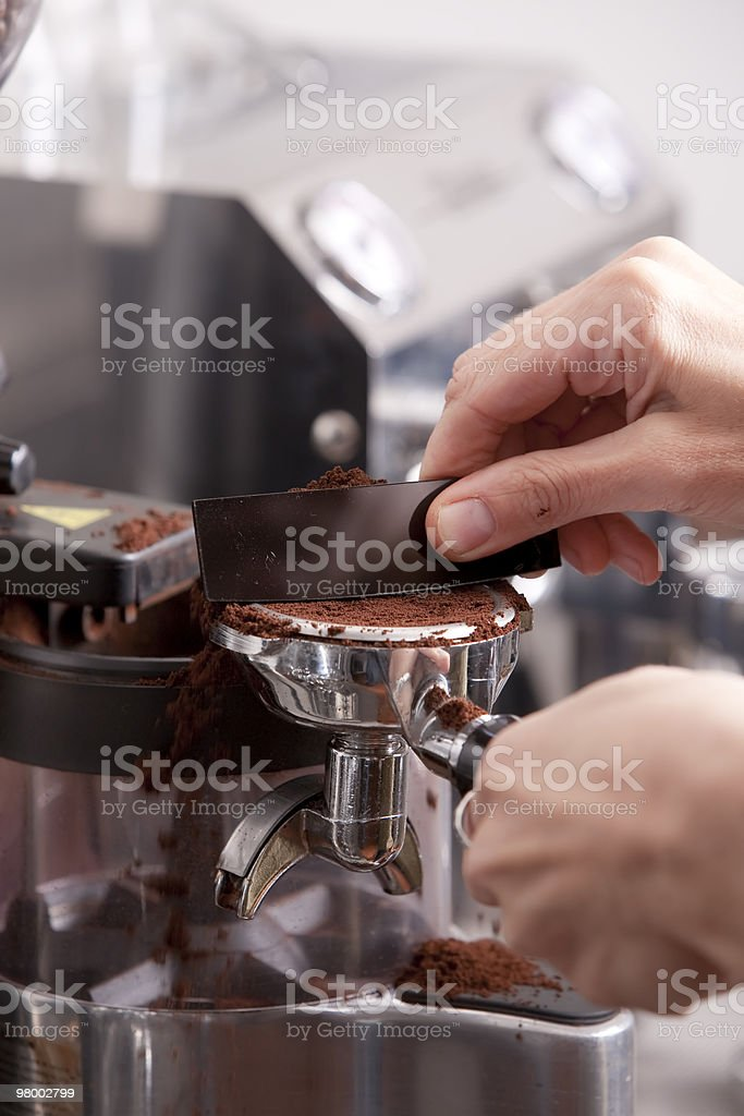 Barista prepaing coffee royalty-free stock photo