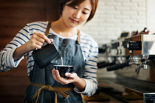 barista prepare coffee working order concept - barista stock photos and pictures