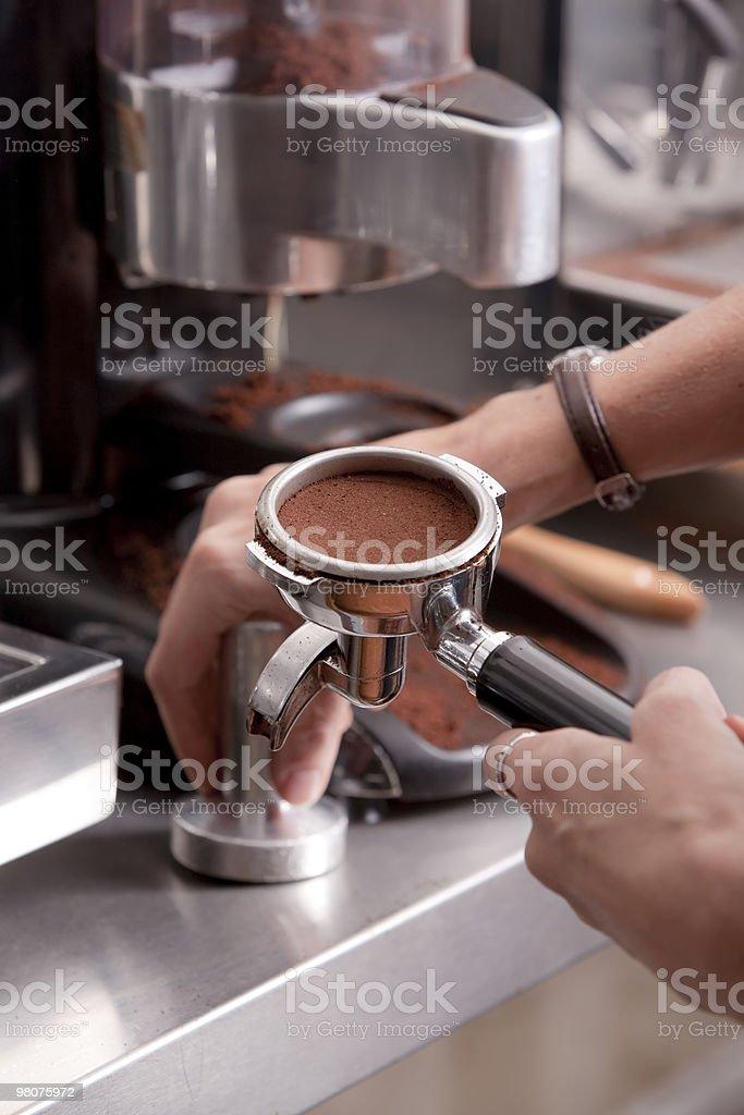 Barista preparing coffee royalty-free stock photo