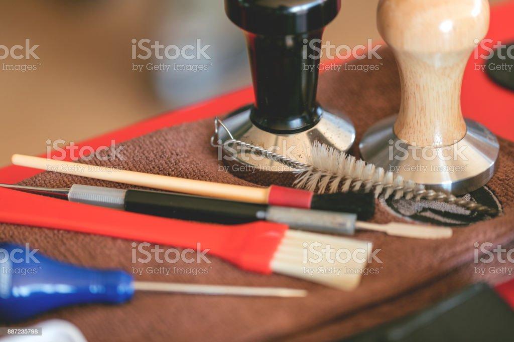 Barista's working tools stock photo