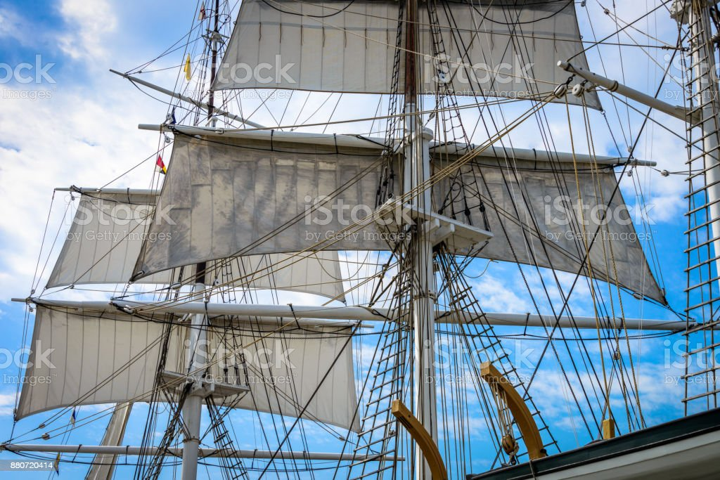 Bark Foremast and Mainmast with Sails Unfurled stock photo