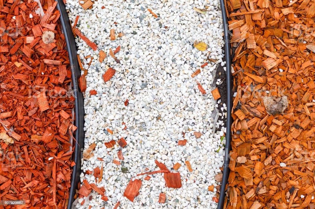 Bark in a flowerbed in landscape design stock photo