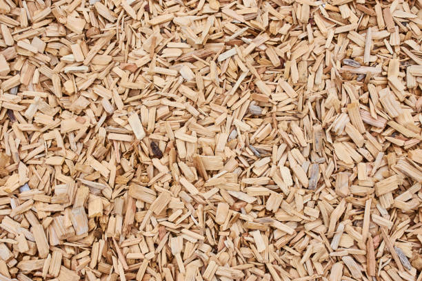 bark mulch as picture background, full format horizontal picture stock photo