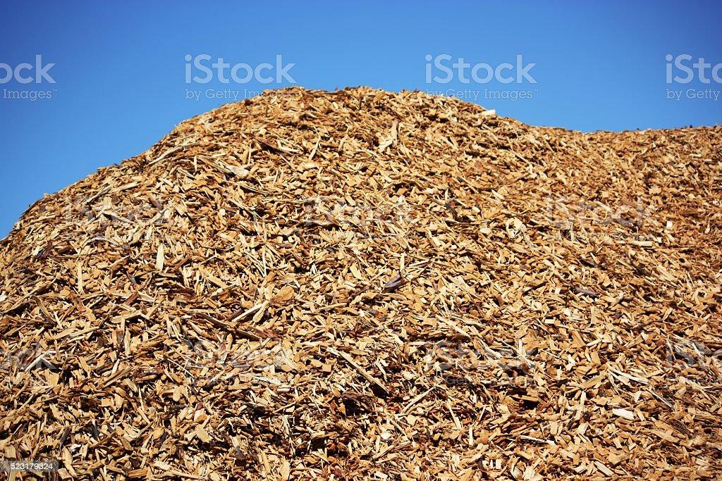 Bark mulch under blue sky stock photo